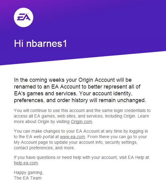 Origin accounts will be renamed to EA accounts!