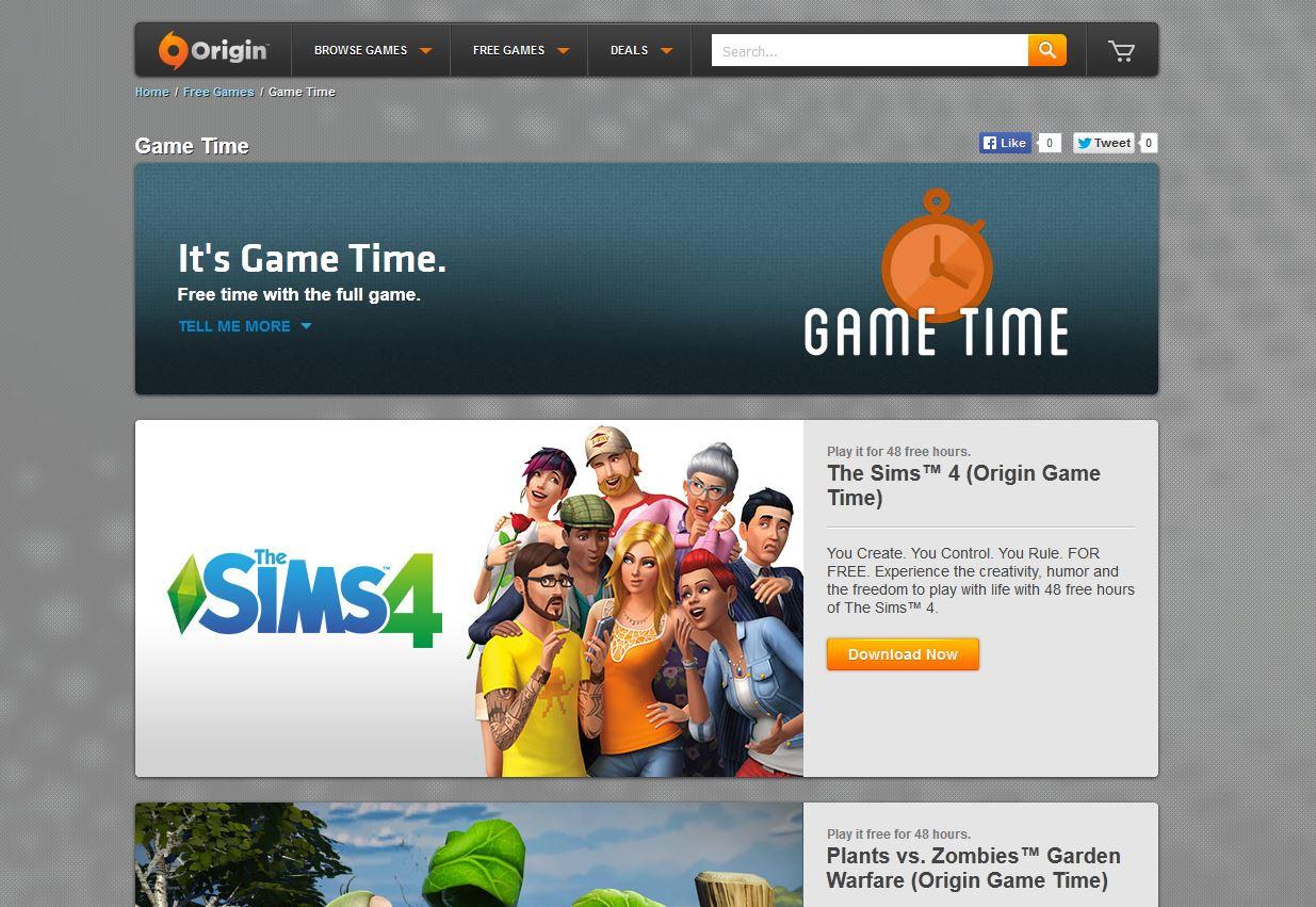 The Sims gametime Origin