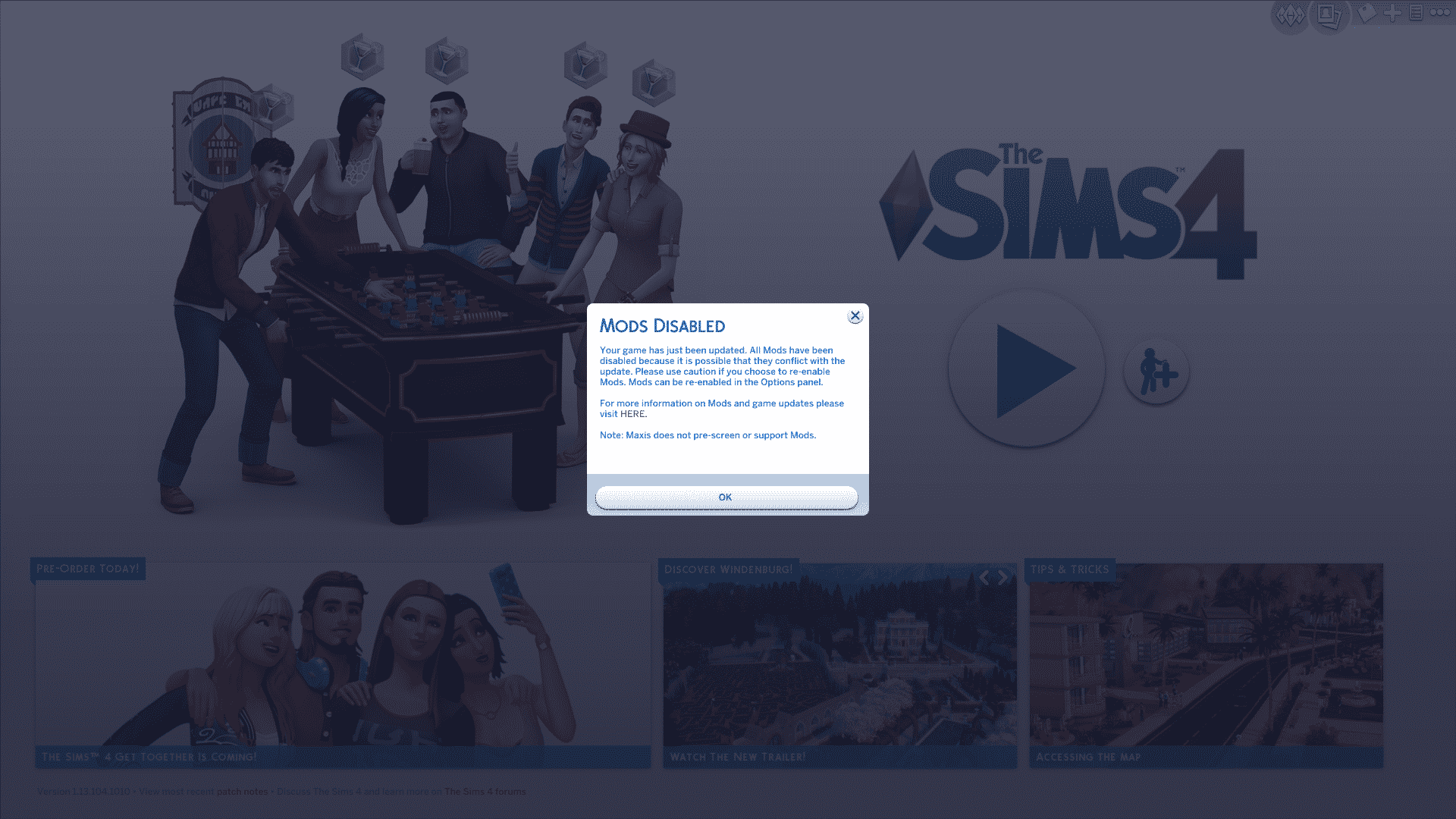 The Sims 4: Mods and Custom Content Automatically Disable