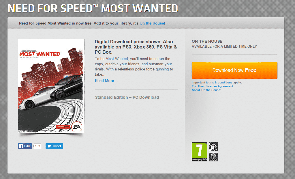 Origin On The House Need For Speed Most Wanted 2012 Free