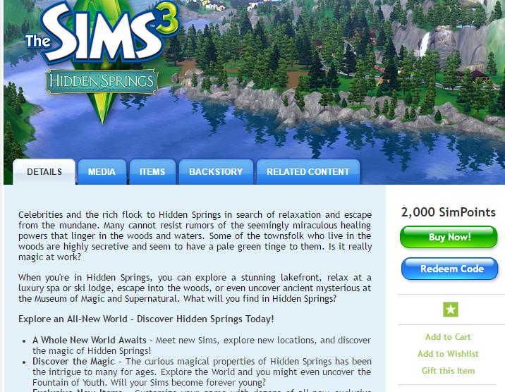 free redeem code for sims 3 hidden springs