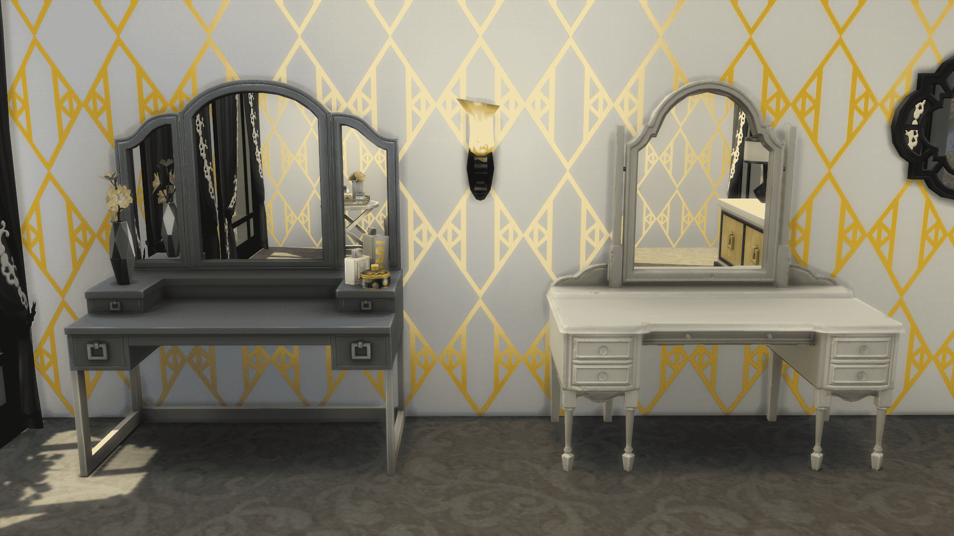 The Sims 4 Vintage Glamour The Vanity Table Globe Bar