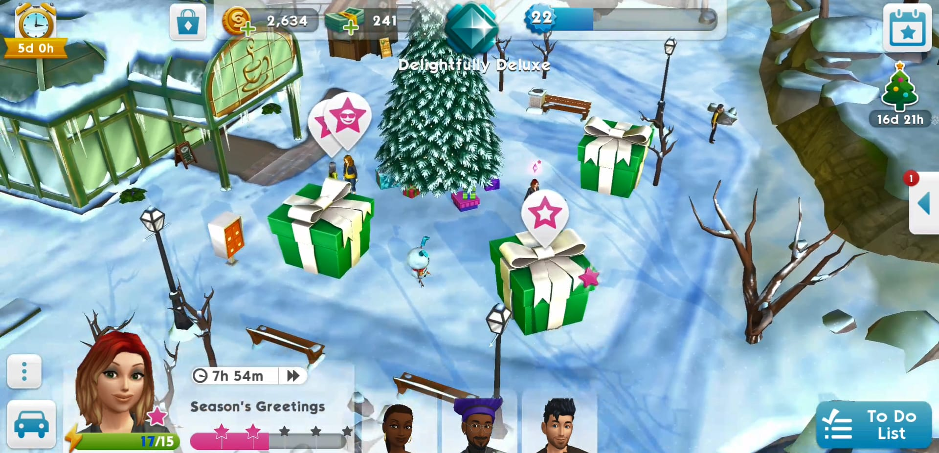 the sims mobile now has snow. Black Bedroom Furniture Sets. Home Design Ideas