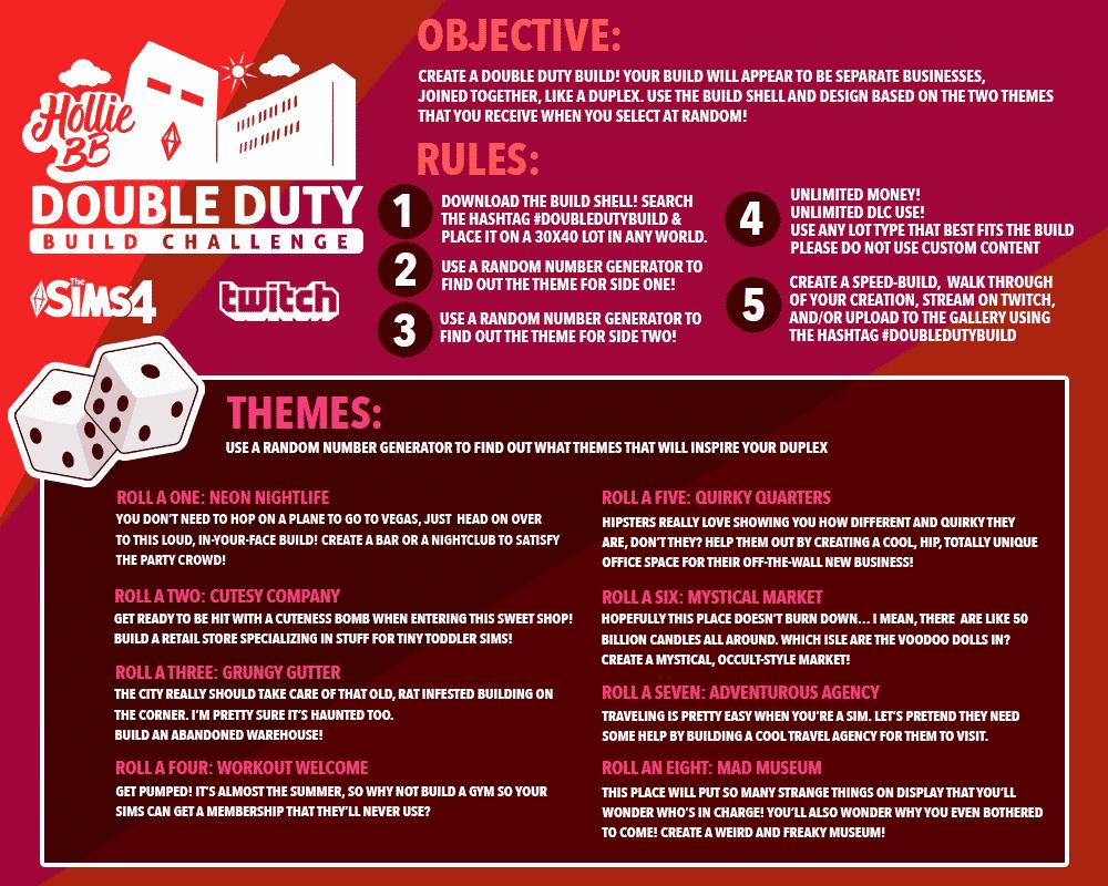 build challenge, holliebb double duty build challenge, sims 4 build challenge
